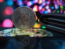 Cryptocurrencies van het Bitcoin virtuele geld royalty-vrije stock afbeeldingen