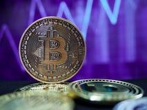 Cryptocurrencies van het Bitcoin virtuele geld stock afbeeldingen