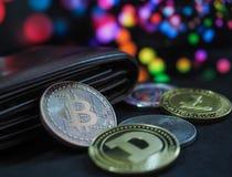 Cryptocurrencies van het Bitcoin virtuele geld stock afbeelding