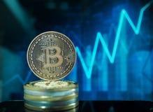 Cryptocurrencies van het Bitcoin virtuele geld stock fotografie