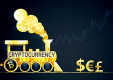 Cryptocurrencies vs traditional currencies. Financial metaphor Stock Image