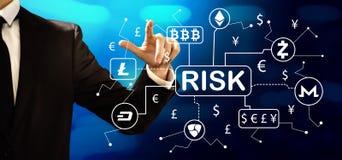 Cryptocurrency与商人的风险题材 免版税库存图片