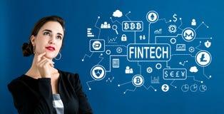 Cryptocurrency与女商人的fintech题材 免版税库存图片