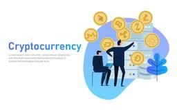 Cryptocurrency和blockchain构成 大数据处理,未来,数据中心服务器驻地  企业例证JPG人向量 免版税库存照片