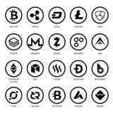 Cryptocurrency商标企业金钱Bitcoin现金Litecoin Ethereum Monero波纹Zcash破折号Stratis传染媒介 图库摄影