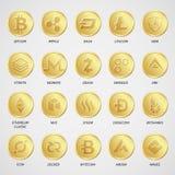 Cryptocurrency商标企业金钱Bitcoin现金Litecoin Ethereum Monero波纹Zcash破折号Stratis传染媒介 免版税库存图片