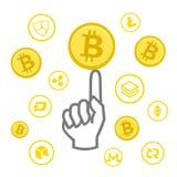 Cryptocurrency商标企业金钱Bitcoin现金Litecoin Ethereum Monero波纹Zcash破折号Stratis传染媒介 库存图片