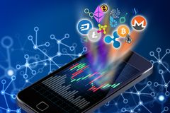 cryptocurrency商标的概念性例证从a出来的 向量例证