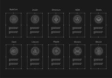 Cryptocurrency商标设置了- bitcoin, litecoin, ethereum, ethereum经典之作, monero,波纹, zcash破折号stratis nem 免版税库存照片