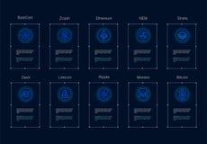 Cryptocurrency商标设置了- bitcoin, litecoin, ethereum, ethereum经典之作, monero,波纹, zcash破折号stratis nem 图库摄影