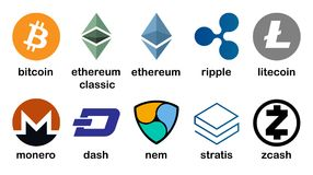 Cryptocurrency商标设置了- bitcoin, litecoin, ethereum, ethereum经典之作, monero,波纹, zcash,破折号, stratis, nem 免版税库存照片