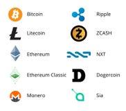 Cryptocurrency商标集合 库存照片