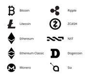 Cryptocurrency商标集合 免版税库存照片