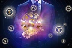Cryptocurrency块式链,企业采矿构思设计 硬币在手中作为位电子商务 库存图片