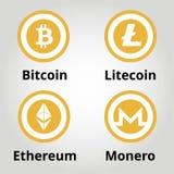 Cryptocurrency平的金子商标设置了- bitcoin, litecoin, ethereum, monero 也corel凹道例证向量 库存照片