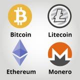 Cryptocurrency平的colorfull商标设置了- bitcoin, litecoin, ethereum, monero 也corel凹道例证向量 库存照片