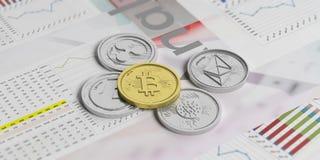 Cryptocurrency成长 在长条图背景的真正货币 3d例证 库存图片
