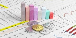 Cryptocurrency成长 在长条图背景的真正货币 3d例证 库存照片