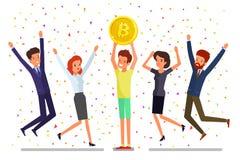 cryptocurrency的概念 发现bitcoins和收入cryptocurrency的商人采矿 图库摄影
