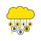 cryptocurrency的Blockchain概念 在白色背景隔绝的金黄数字式云彩 金雨真正硬币bitcoin, ethereum 免版税图库摄影