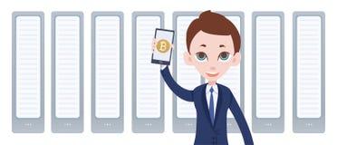Cryptocurrency采矿农场和人有智能手机的在手中 流动bitcoin钱包app 由平的样式的传染媒介例证 免版税图库摄影