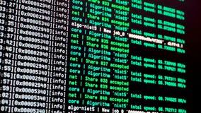 Cryptocurrency采矿过程控制台显示 股票录像