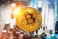 Cryptocurrency金黄bitcoin硬币 隐藏货币的概念性图象 库存图片