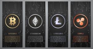 Cryptocurrency,黑横幅 库存照片