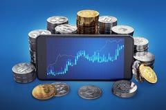 Cryptocurrency élèvent le graphique sur l'écran de smartphone Différentes piles de cryptocurrencies autour illustration stock