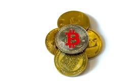 Cryptocurrency монеток изолированное на белой предпосылке стоковые фотографии rf