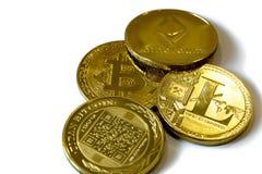 Cryptocurrency монеток изолированное на белой предпосылке стоковое изображение
