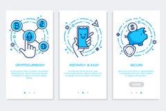 Cryptocurrency που app οι οθόνες, σύγχρονη διεπαφή στο επίπεδο ύφος ελεύθερη απεικόνιση δικαιώματος