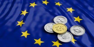 Cryptocurrency в EC Золотые bitcoin и разнообразие серебряных виртуальных монеток на предпосылке флага Европейского союза иллюстр Стоковое Изображение RF