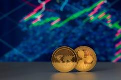 Cryptocurrency и финансовые диаграммы Стоковые Изображения