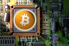 cryptocurrency и blockchain - финансовые деньги технологии и интернета - минирование монтажной платы и монетка - bitcoin BTC стоковая фотография