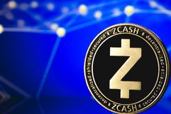 Cryptocurrency монетки Zcash стоковые фотографии rf