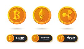 Cryptocurrency icon. Cryptocurrency banking payment accepted here. Bitcoin, ethereum, ripple accepted here sticker. Pay for e-business coin. Electronic crypto Royalty Free Stock Images