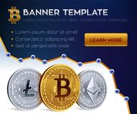 Cryptocurrency  banner template. Bitcoin, Ethereum, Litecoin. 3D isometric Physical coins. Golden bitcoin coin and silver. Ethereum and litecoin coins. Stock Stock Images