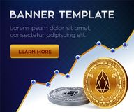 Cryptocurrency  banner template. EOS. 3D isometric Physical bit coin. Golden and silver EOS coins. Stock  illustrati. On Royalty Free Stock Photography