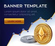 Cryptocurrency  banner template. Ethereum. 3D isometric Physical bit coin. Golden and silver Ethereum coins. Stock. Illustration Royalty Free Stock Image