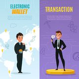 Cryptocurrency Banners Set. Cryptocurrency international electronic wallet vertical banners set cartoon isolated vector illustration Royalty Free Stock Images