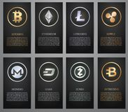 Cryptocurrency, bannière noire Image stock