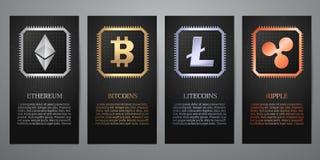 Cryptocurrency, bannière noire Photo stock