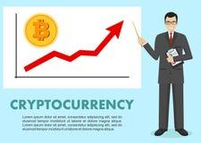 Cryptocurrency begrepp Affärsman och graf med trendlinjen som stiger upp och mynt med ett tecken av bitcoin i plan stil Fotografering för Bildbyråer