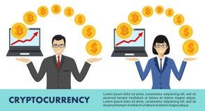 Cryptocurrency begrepp Bitcoin som bryter, utbyte, mobil bankrörelse vektor illustrationer
