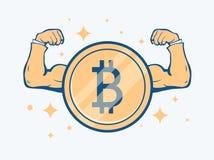 Cryptocurrency bitcoin概念 金黄硬币用bitcoin标志和肌肉手 传染媒介平的例证 免版税库存图片