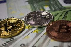 Cryptocurrency Bitcoin硬币 免版税图库摄影