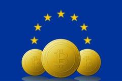 Cryptocurrency 3 Bitcoin с флагом ЕВРОПЕЙСКОГО СОЮЗА на предпосылке бесплатная иллюстрация