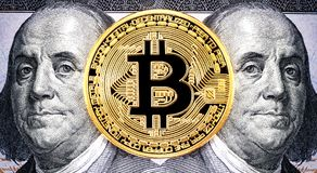 Cryptocurrency of the Bitcoin with Benjamin Franklin portrait fr Royalty Free Stock Photography