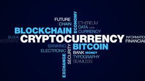 Cryptocurrency bitcoin blockchain economy technology business e-commerce mining digital exchange finance animated word. Cloud background in uhd 4k 3840 2160 royalty free illustration